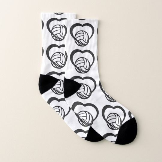 Volleyball Heart Socks #volleyball #socks #SportsArtZoo