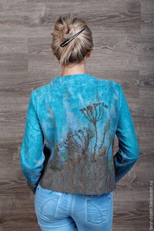 """Купить Жакет """"Прованские травы"""" - голубой, валяный жакет, жакет валяный, авторская ручная работа"""