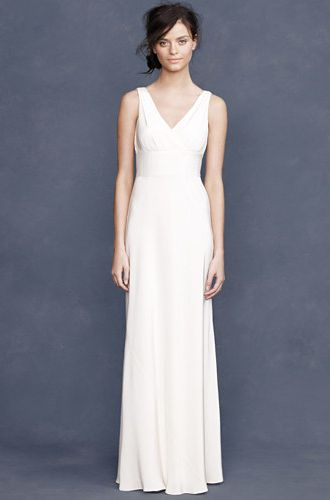 12 Budget-Friendly & Alternative Wedding Dresses: J Crew Sophia Gown.