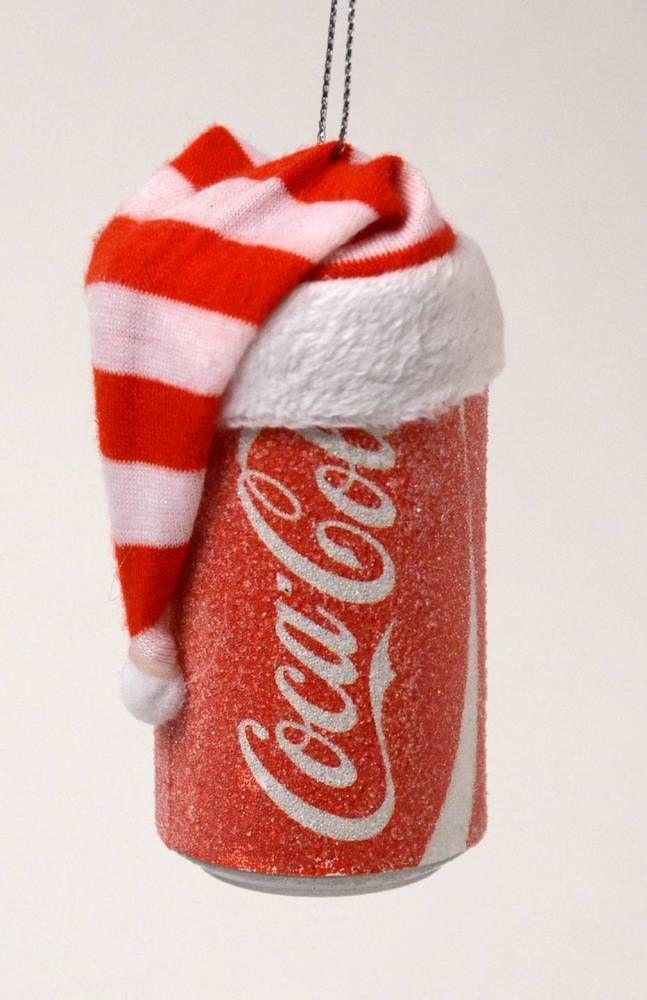 COCA COLA CAN WITH SANTA HAT  GLISTENS  CHRISTMAS ORNAMENT NEW