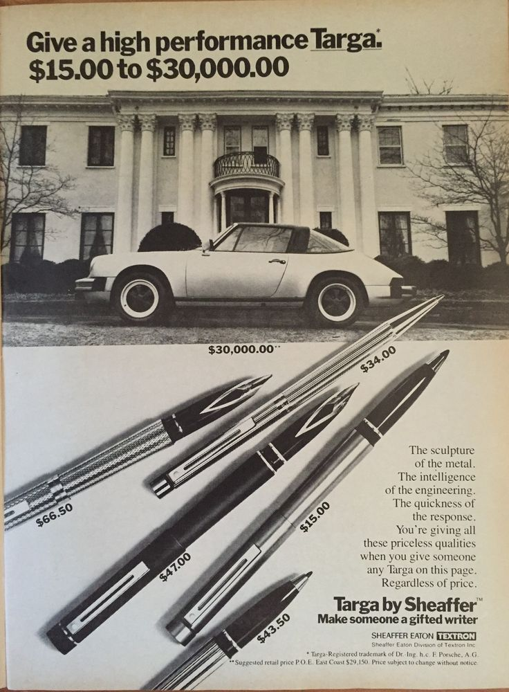 Targa pen ad. Porsche