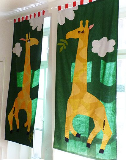 Long pair of CURTAIN FOR KIDS Giraffes green yellow by dgmart