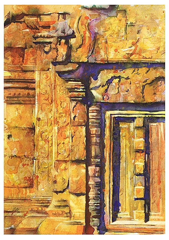 Watercolor painting of ruined doorway at the Banteay Srei temple at Angkor Wat ruins.    Painting by Raleigh, NC artist Ryan Fox    http://www.rfoxphoto.com