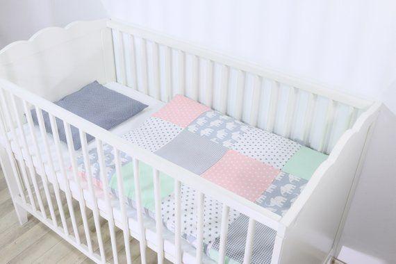 Elefant Mintrosa Baby Bettwäsche Bettbezug Set Von Ullenboom