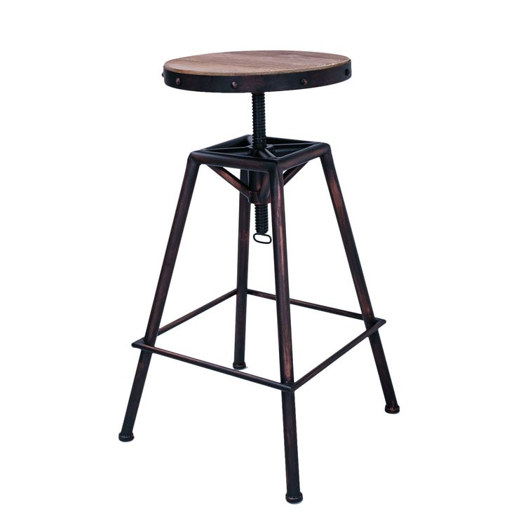 Wooden Stool Tops ~ Rustic metal bar stool with wooden top tops