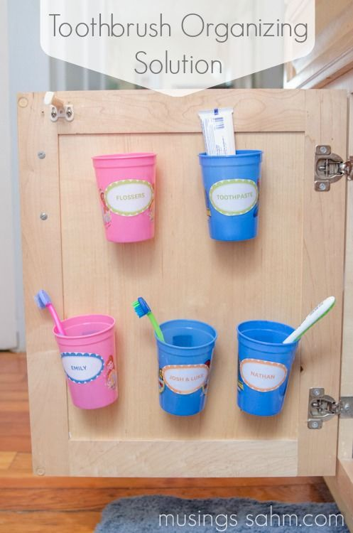 Source:musingssahm.com 10. Toothbrush Organization Keeping your family's toothbrushes organized and in one place can be next to impossible. When they're all in one place it's hard for kids to know which one is theirs. As a solution to this problem, hide some cups inside your cabinet with each person's name on it and attach themContinue Reading...