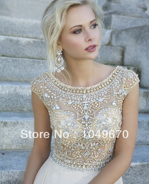 New Trend 2014 Jewel Crystal Prom Dresses With Cap Sleeves Chiffon vestidos de fiesta Floor Length V-back Evening Dress N219 $155.00