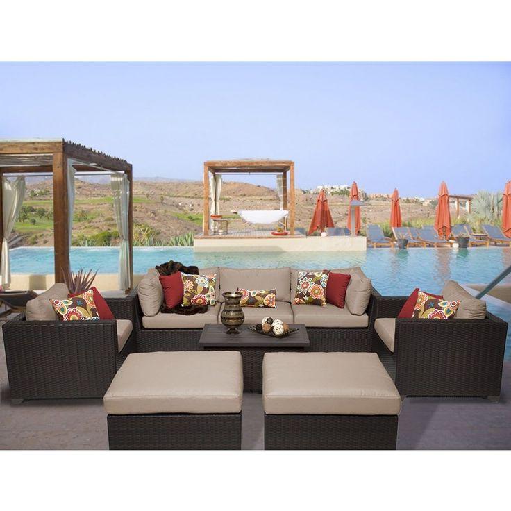 TK Classics Belle 8 Piece Outdoor Wicker Patio Furniture Set 08a