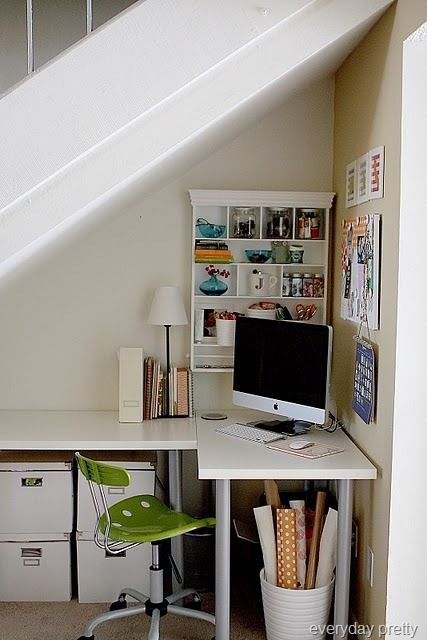 Under stairs office, White, Space utilization, Small workspace, Home office.