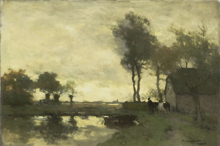 This can only be the Netherlands | Landscape with farm | Johan Hendrik Weissenbruch