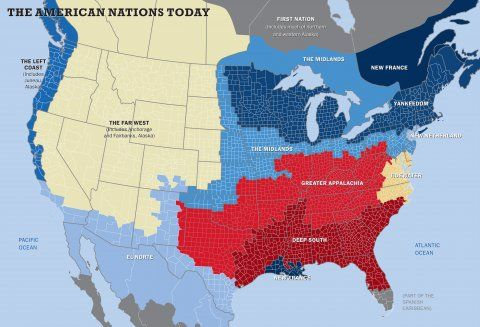 """This map shows the US really has 11 separate 'nations' with entirely different cultures. In his fourth book, """"American Nations: A History of the Eleven Rival Regional Cultures in North America,"""" award-winning author Colin Woodard identifies 11 distinct cultures that have historically divided the US. """"The country has been arguing about a lot of fundamental things lately including state roles and individual liberty,"""" Woodard, a Maine native who won the 2012 George Polk Award for investigative…"""