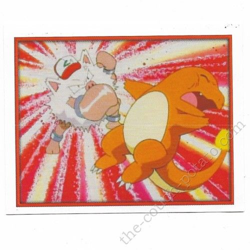 Pokemon Sticker Card  Primeape punches Charmander # 188 2x3 inches Merlin 2000 TV show pictures
