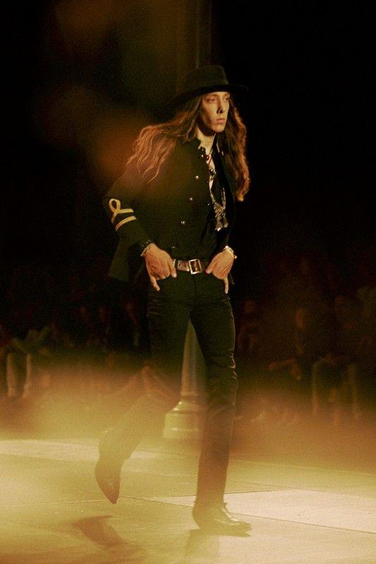 Cult casting, capes and cowboy boots at Saint Laurent SS15, Paris menswear. More images here: http://www.dazeddigital.com/fashion/article/20592/1/saint-laurent-ss15
