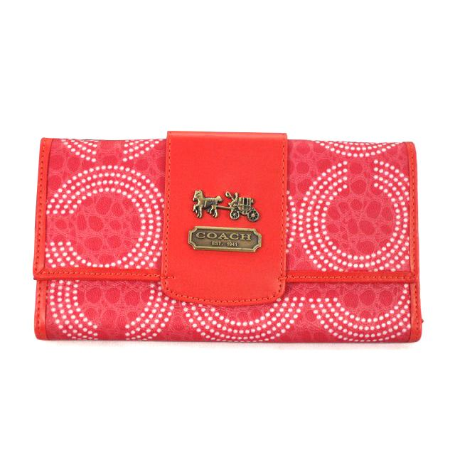 Look Here! Coach Dot Logo Large Red Wallets ECX Outlet Online