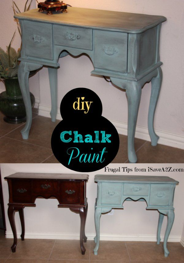 Paint furniture the easy way using Homemade Chalk Paint!  No prep needed like your other paint projects!  There's a simple way to seal it by rubbing wax on it to complete the look!  | iSaveA2Z.com