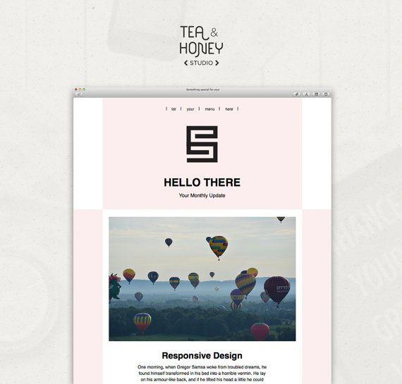 Email Newsletter Template Mailchimp by TeaAndHoneyStudio on Etsy