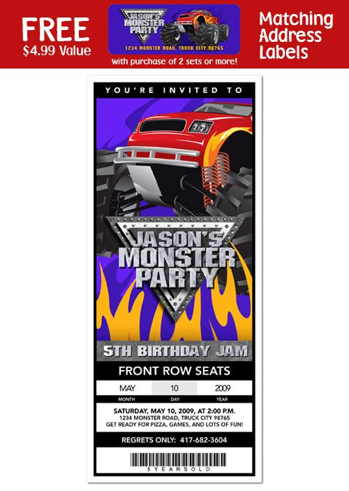 Cute Monster Truck Birthday party invite made to look like a ticket!