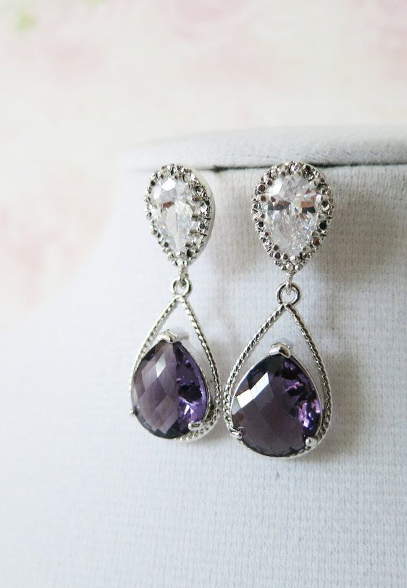 Magda- Silver Amethyst Teardrop Crystal Earrings