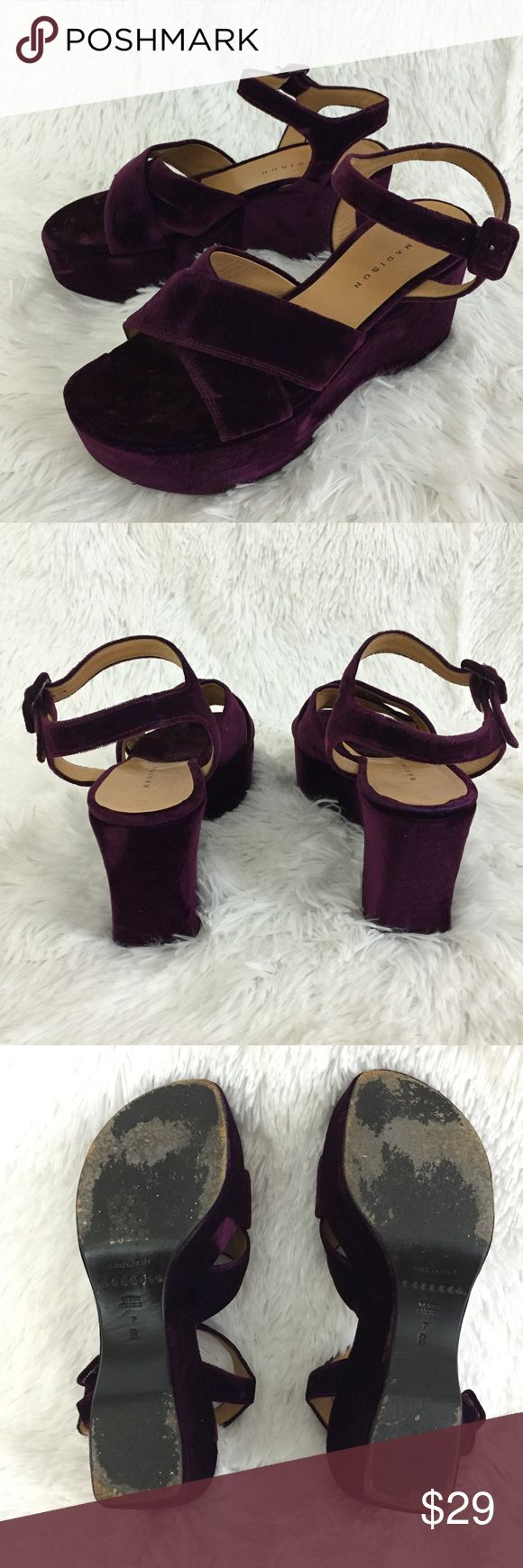 Madison, made in Italy purple velvet platforms, 7 These MADISON purple velvet platforms are insanely cute! They are a size 7 and run true to size.  They are in good pre-owned condition with moderate overall wear to the soles and velvet, only flaw is liner on one shoe is coming unglued slightly on edge, see last image for detail. madison Shoes Platforms