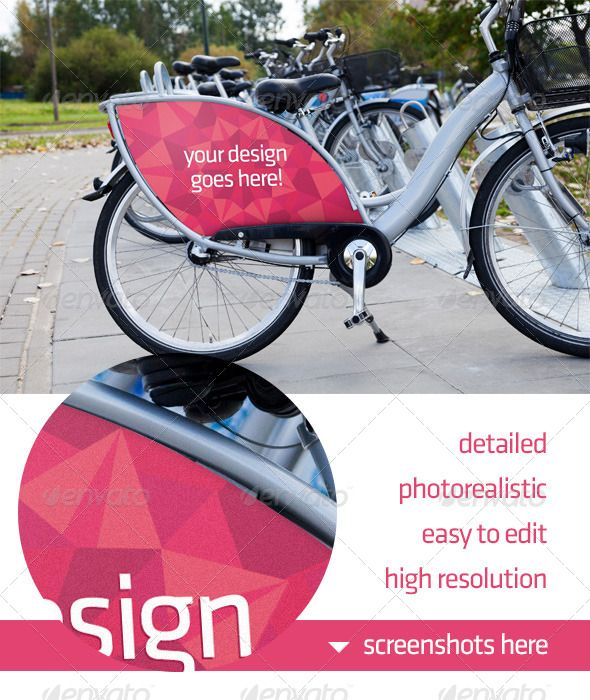 A photorealistic bike advert mock-up. It's easy to edit, based on Smart Objects. Perfect to present your design/ad to your client.  City bike (known in Warsaw,Poland as Veturilo) is a perfect way to get through the city and becomes increasingly popular place to place ads. Show your work to your client in a perfect way!