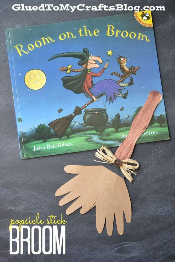 Popsicle stick broom craft to go along with the book, Room on the Broom.