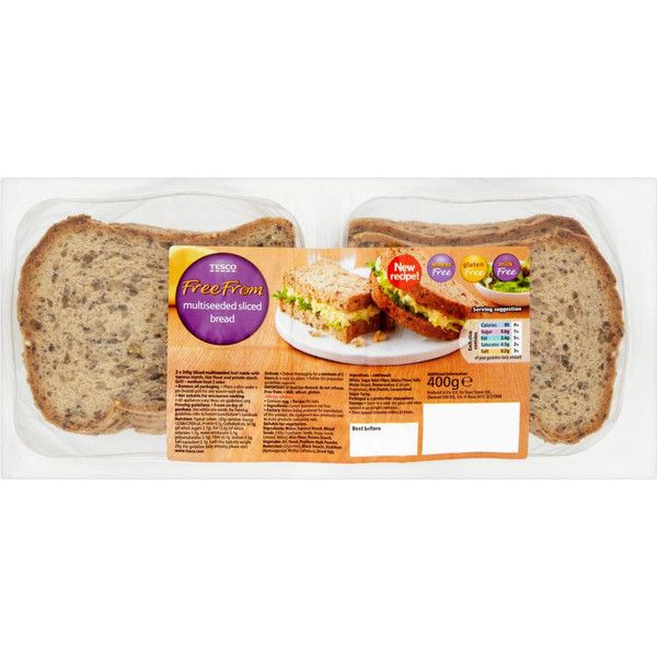 Buy Tesco Free From Multiseeded Sliced Bread (400g) online in Tesco at mySupermarket (€1,66) found on Polyvore