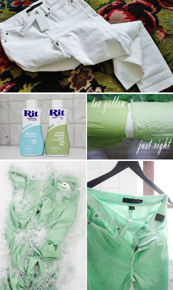 DIY Mint Green Denim Tutorial. Shows you how to create Mint color with standard dye colors!