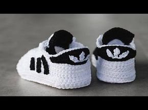 Zapatitos adidas tejidos a crochet 3-6 meses | parte 1/2 - YouTube