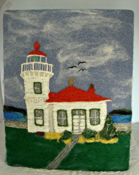 Felted Painting, Needle Felt Painting, Lighthouse art, Lighthouse painting,