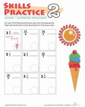 Fifth Grade Fractions Worksheets: Practice Mixed & Improper Fractions 2