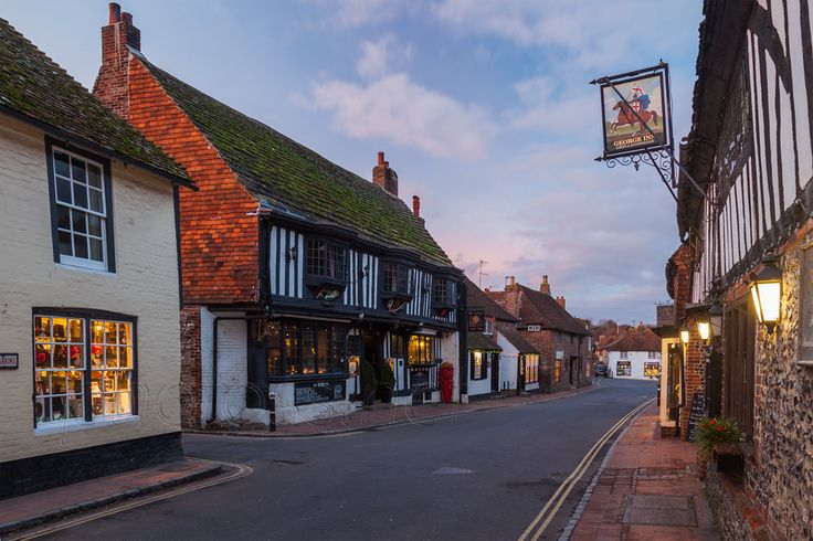 Dusk on High Street in Alfriston, East Sussex,, England