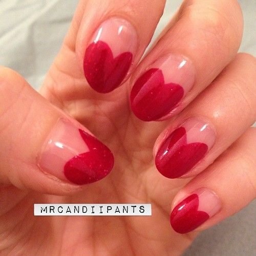 Valentine's Nails    mrcandiipants:    I don't have the time for anything complicated right now, and I've always wanted to try these heart tip nails. Also, obsessed with the color. Orly star spangled. Glowy glittery red. Amazing