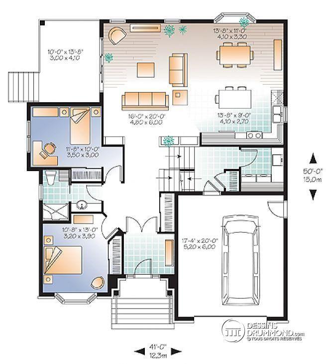 Plan de Rez-de-chaussée Style européen, terrasse extérieur, 3 grandes chambres, garage - Lys 2