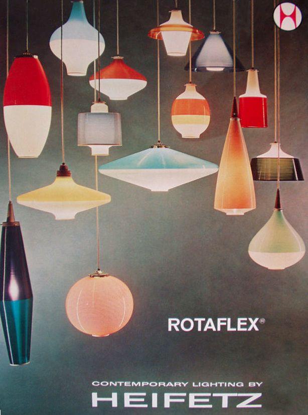 "midcenturia: "" "" Rotaflex pendant lamp catalog cover, love the shape variety here. "" """