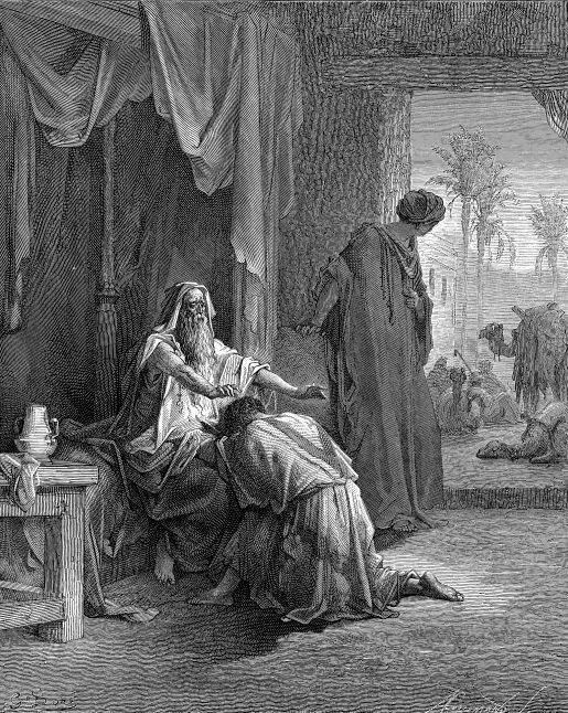 (por Gustave Doré)-Tendo saído Esaú, Rebeca, que amava mais a Jacó, chamou-o e disse-lhe que tirasse dois cabritos do seu rebanho, mandou prepará-los e oferecê-los a Isaac. Jacó então aproximou-se de Isaac, com as roupas de Esaú e as mãos e o pescoço revestidos de pele de cabra. Isaac, duvidando que fosse Esaú, tocou-o e julgou ser realmente seu filho primogênito. Deu-lhe então a bênção.