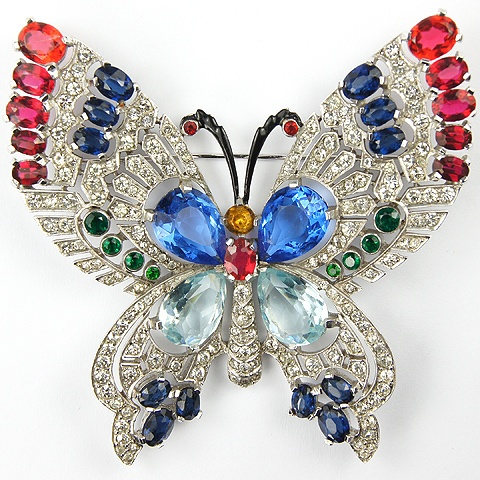 Mazer Pave and Multicolour Stones Giant Butterfly Pin