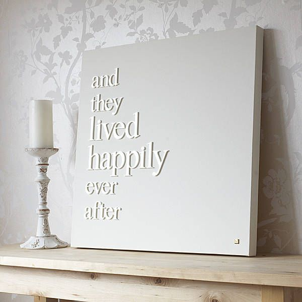 Personalised 39happily ever after39 canvas glue wood letters for Wooden letters on canvas