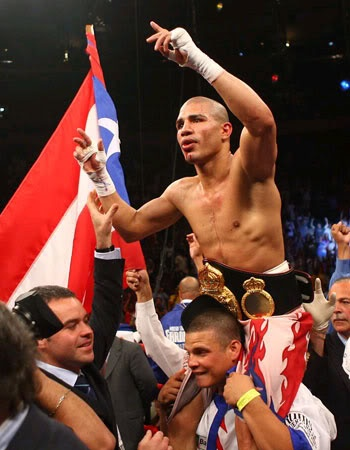 The fight is over and Miguel Cotto beats Sergio Martinez .... After 4 knock downs the corner call it off between round 9 & 10.  The new Middle Weight World Champion is  Cotto.