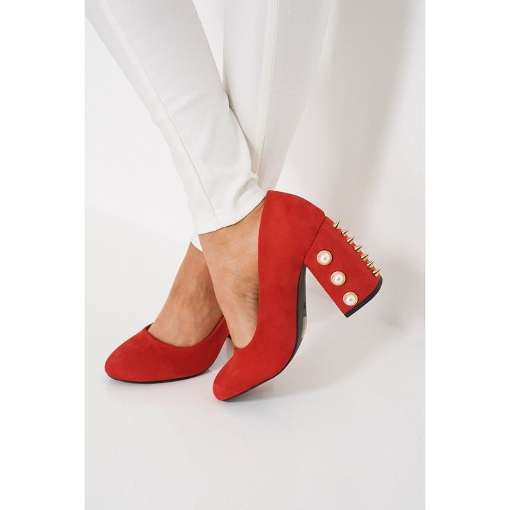 Pearls And Studs Red Faux Suede Block Heeled Shoes by Modern Outfitters- Women - Shoes - Party & Evening Pure Aiyza Shoe Passion LINK- https://aiyza.com/collections/pearls-and-studs-red-faux-suede-block-heeled-shoes Pearls And Studs Red Faux Suede Block Heeled Shoes  Key Features Include:  - Slip-On Style - Round Toe - Faux Suede Finish - Stud And Pear Details - Block High Heel - Wipe With A Damp Cloth Material: - Upper: 100% Textile - Sole: 100% Synthetic - Lining: 100 % Synthetic…