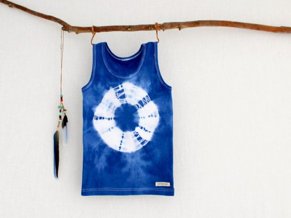PACIFIC . hand dyed tie dye kids singlet tank top . sizes 3 to