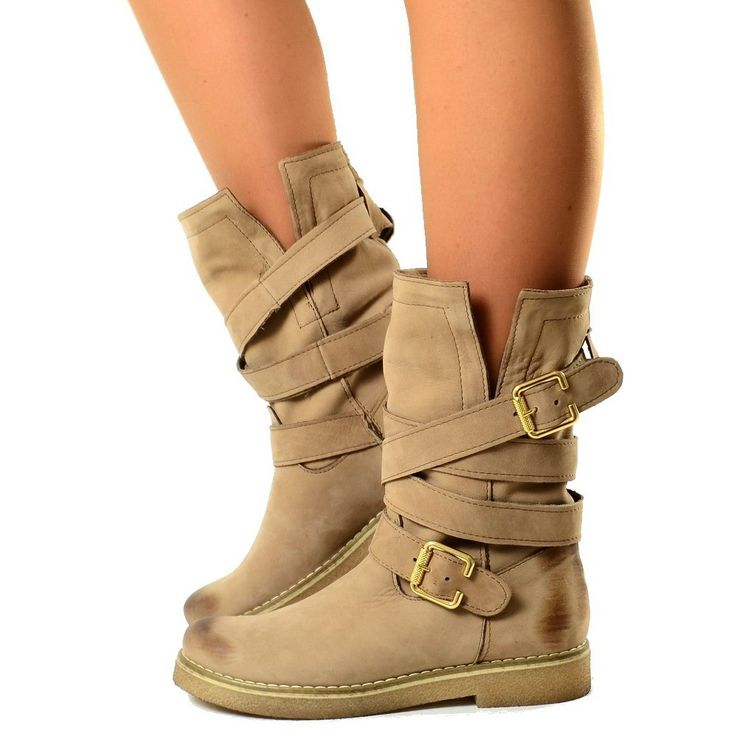Biker Boots Stivaletti Con Fasce in Pelle Nabuk Vintage Taupe