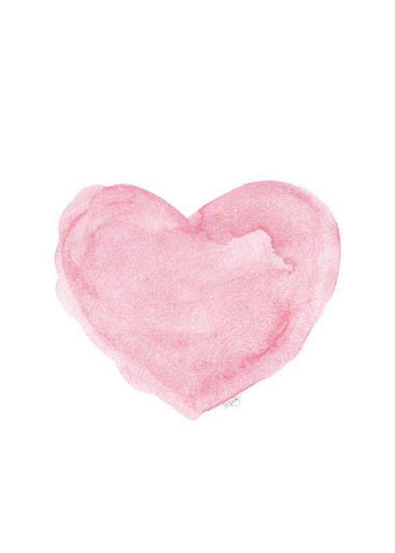 Watercolor Print, Pink Heart Art, Nursery Print, Pink Watercolor, Love, Baby Nursery Art, Watercolor Heart, Nursery Watercolor, Pink Art