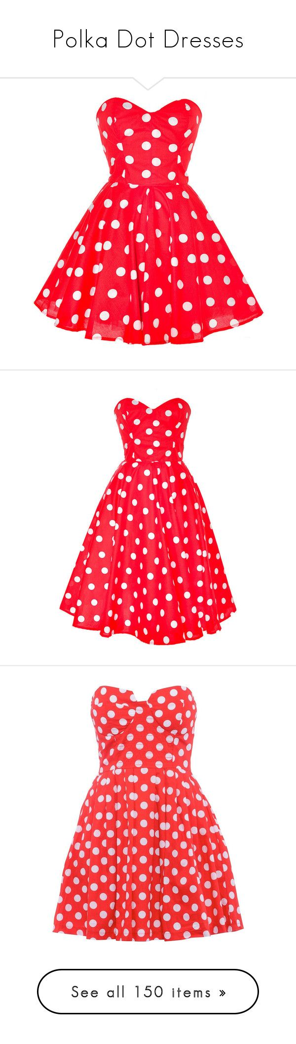 """""""Polka Dot Dresses"""" by cocohollywood ❤ liked on Polyvore featuring dresses, vestidos, robe, red, red mini dress, red strapless cocktail dress, a line dress, polka dot dress, red bustier and short dresses"""