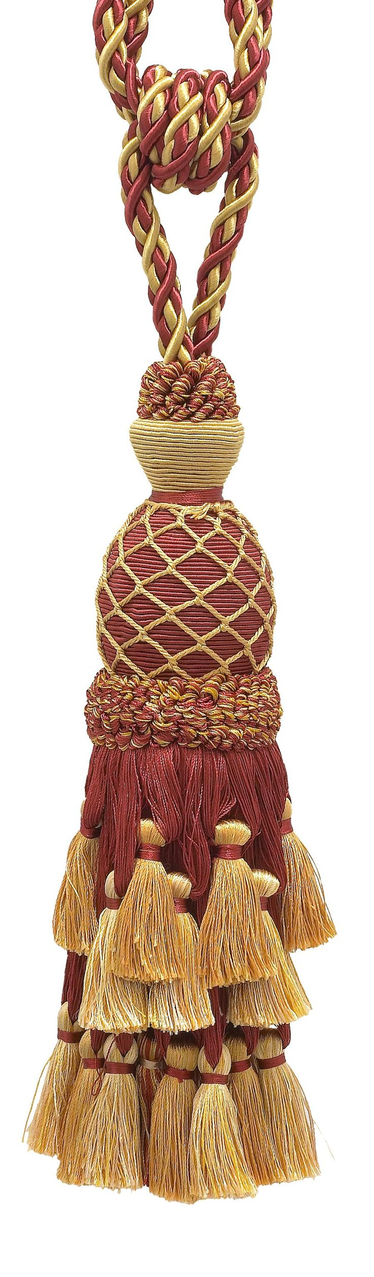 "Lavish Burgundy Red, Gold Large Curtain & Drapery Tassel Tieback / Large 11"" tassel, 34"" Spread(embrace) 7/16"" Cord, Imperial II Collection Style# TBIL-1 Color: BURGUNDY GOLD - 1253"