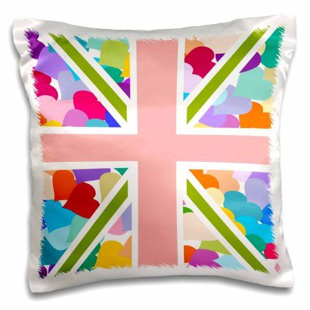 3dRose Colorful Cute Hearts Pattern Union Jack English Flag - Girly Great Britain United Kingdom England, Pillow Case, 16 by 16-inch