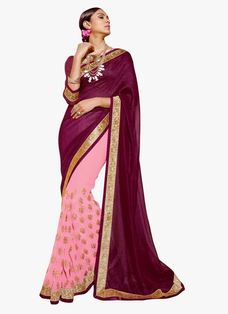 Mod Georgette Pink Designer Saree