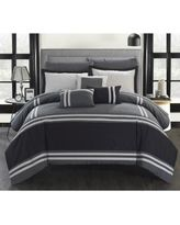 Chic Home 10-piece Georgette Oversized Grey Bed-in-a-Bag Comforter Set (Queen) (Microfiber, Geometric)