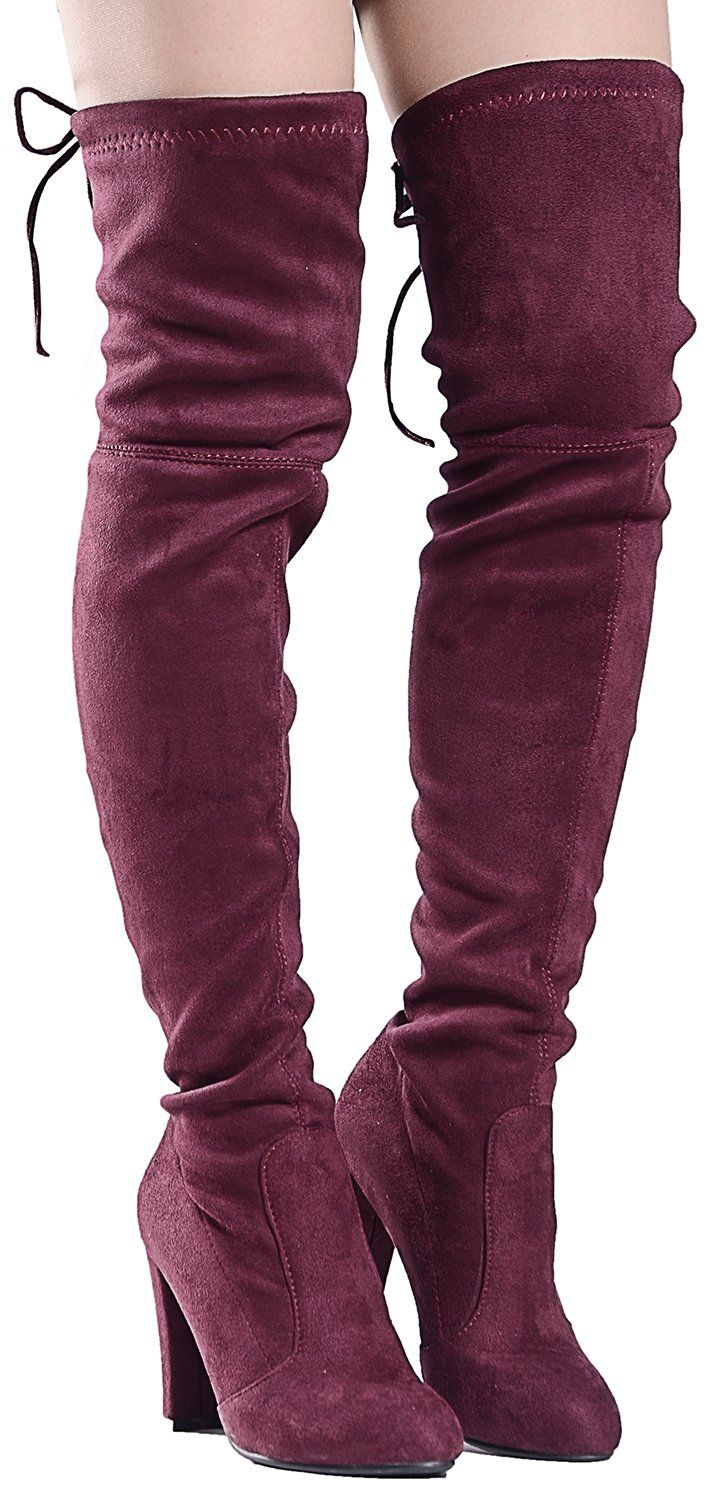 332f9faaf03 Odema Womens Sexy Over The Knee Boots Thigh High Block High Heel Pullon  Bootie