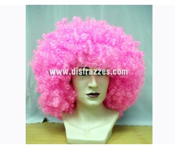 Peluca rizada gigante de color rosa