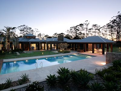 Rural retreat swimming pool and courtyard in Central Coast hinterland